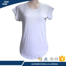 Plain Thin White Elegant Lace Cotton T-shirt