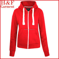New Style Women's Casual Zipper Hoodie Thin Hoodies in Red