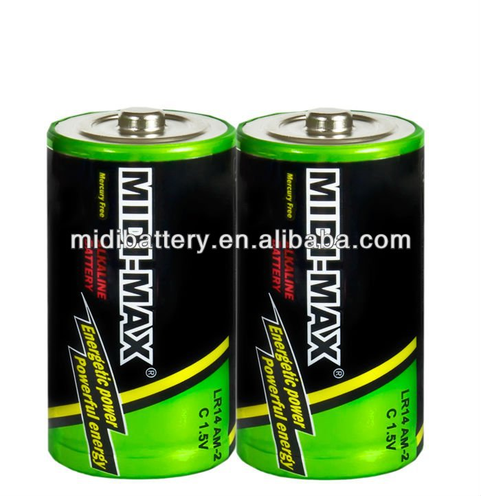 Super cell dry battery C size am-2 R14 1.5V