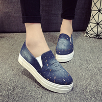 SAA1088 Spring autumn lady canvas shoes fashion high platform fancy women jean loafer shoes