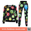 2015 Spring Autumn Printed Smile Face Sweatshirt Hoodies Sports Suit Women Tracksuits