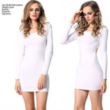 Cheap Angvns Sexy Women Long Sleeve O-Neck Open Back Bodycon Stretch Cross Back Mini Plain White Dresses AM000825