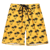 KY fashion Drawstring knee length Bee Yellow Tropical Plant Print Elastic Waist Beach mens swim shorts