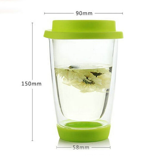 Insulated Double Wall Tumbler with Drink Through Lid, real borosilicate glass