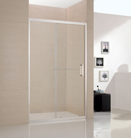 transparent shower glass screen with stainless steel frame