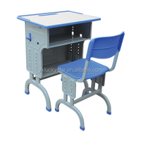 Fixed Single Wooden Deck School Desk and Chair/School Furniture/Plastic table and chair