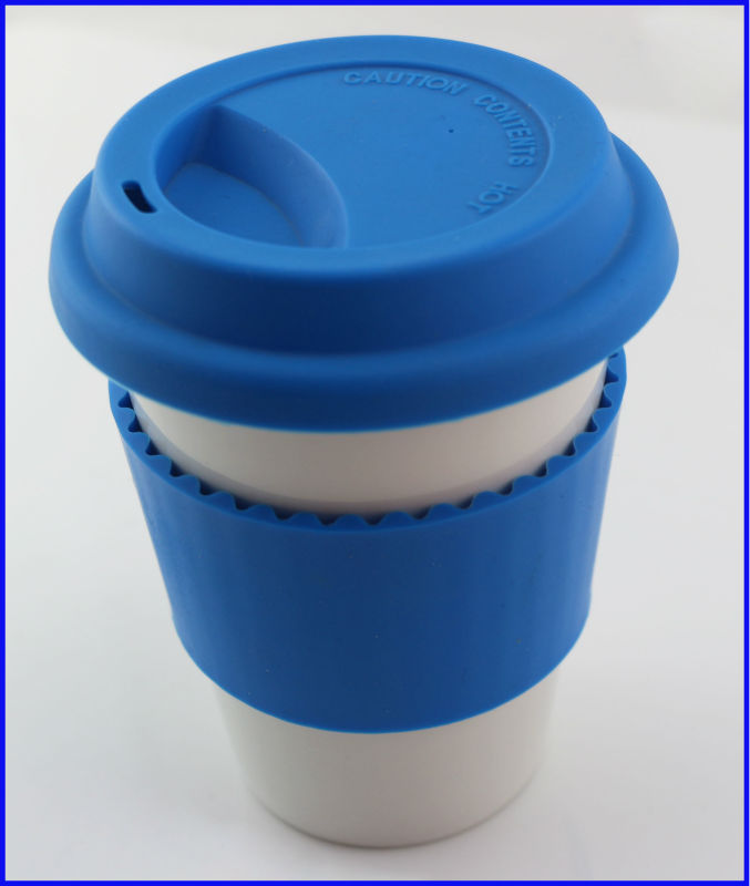 Ceramic Travel Coffee Mugs with Silicone Lid Cups