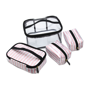 Wholesale YiWu Factory Promotional Pink Striped Set of 4 Clear PVC Cosmetic Bag Pouch Coin Purse Makeup Toiletry Wash Bag