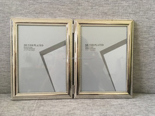 silver plated photo frame, silver plated frame, double photo frame
