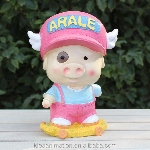 TV cartoon character resin pvc pig doll plastic with ASTM standard promotion pig toy