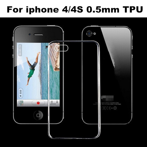 Hot Sale Factory Price 300 pcs/lot Freeshipping 0.5mm Crystal Clear Soft Transparent TPU Case cover for iphone 4G 4S Case
