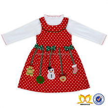 Christmas Latest Western Dress Patterns For Girls Cute Long Sleeve White Dot Green Bow Fashen Socks And Snowman Red Dress Kids