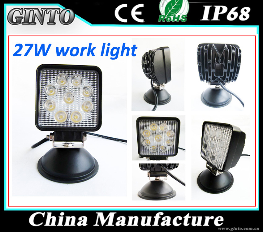 12V/24V 27W 4inch round led work lights for tractor, forklift, off-road, ATV, excavator, heavy equipmen, car auto part