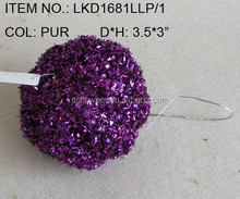"craft wholesale artificial purple pumpkins 3.5""*3"""" with glitters for harvest home decoration"