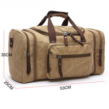 cheap expandable large multifunctional canvas travel bag with shoulder stripe