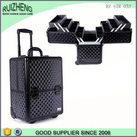 Hot Sales Black Aluminum Makeup Case Hairdresser Trolley Case