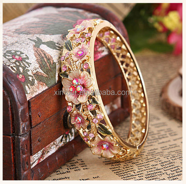 Luxury elegant cloisonne enamel bangle 18k gold bracelet