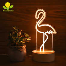 Fresh Feeling Decorative Flamingo 3D Lamparas De Wood For Room