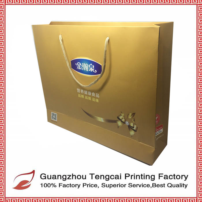 Golden paper custom printed wine packaging bag