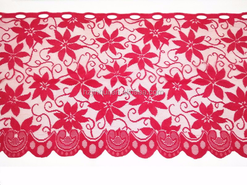 Christmas red lace poinsettia cafe curtains poinsettia kitchen curtains 50x200cm