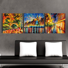 Popular design colorful paris street scene oil painting reproduction modern canvas painting images with famed