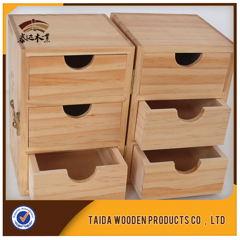 Cheap multi-drawer pine bamboo antique wooden jewelry box