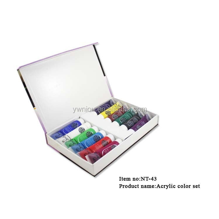 12 Color Acrylic Paint Tube Set for NAIL ART UV False TIPS Drawing Painting Tool NT-43
