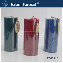 Chinese elements embossed pillar candle, solid-colored decorative candle with flat top pillar shaped