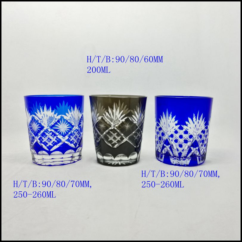 stocked 8 oz cobalt blue hand cut round glass tumbler