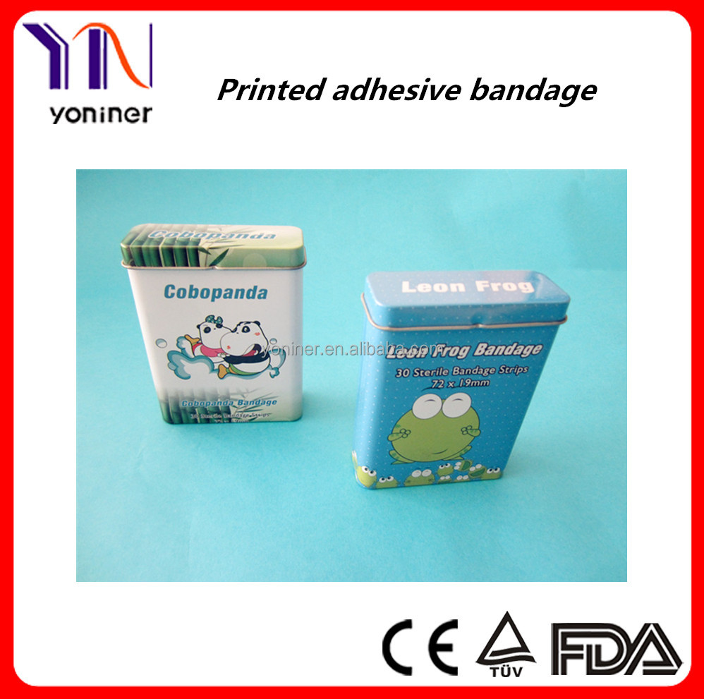 waterproof custom printed Cartoon band aid in tin box manufacturer CE FDA ISO certificated