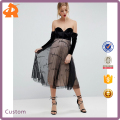 supplier in china custom 2018 velvet bardot embroidered tulle skirt midi dress