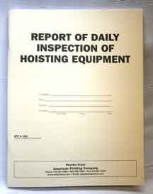 Mine Safety Inspection Books:APC 6-1494: Report of Daily Inspection of Hoisting Equipment