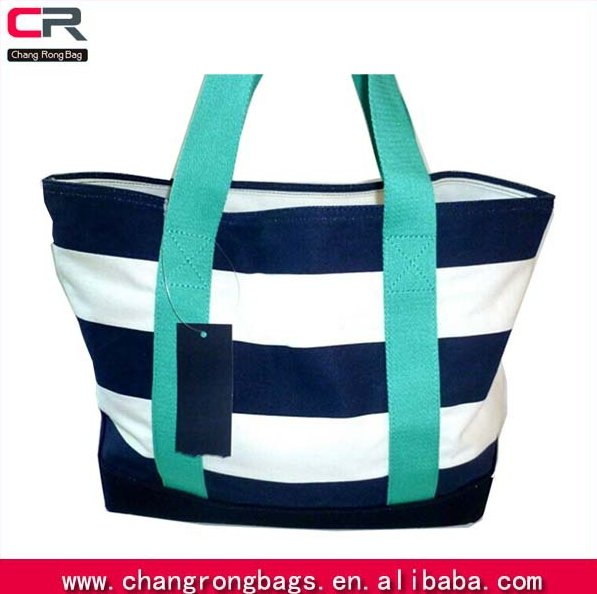nwt women's canvas stripes totes bag white navy aqua fashion custom tote bags shoppers bags made in Guangzhou