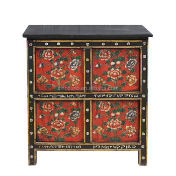 Chinese antique Tibetan furniture hand painted solid wood sideboard chest