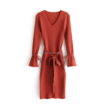 2017 Latest fashion design casual long sleeve knitted solid color women bodycon sweater winter dress with lace belt