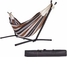 Cheap Double Hammock With Space Saving Steel Stand Includes Portable Carrying Case, Desert Stripe