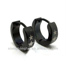 Pure titanium hoop earrings, cool black plated ear hoops with five-point star pattern
