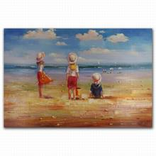beach kids oil painting pictures of girl nice sea landscape oil painting