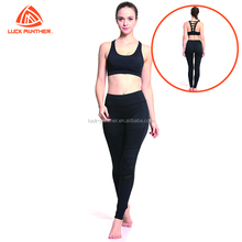 (OEM FACTORY)women yoga fitness lycra pants Black hot color sport set for women female compression gym leggings booty