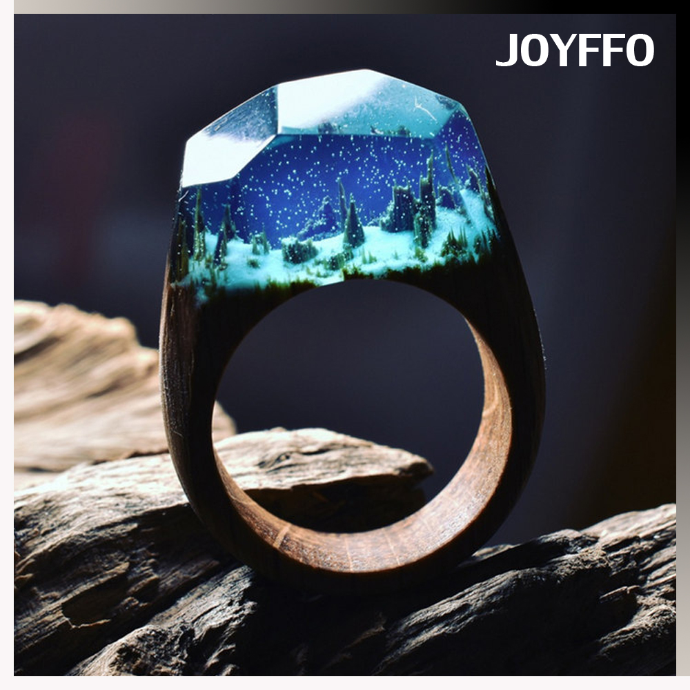 2017 jewellery designs with price images New Hot Exquisite Secret Wood Rings with Miniature Landscapes in Resin Wood Ring