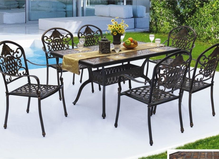 2016 Durable Easy Installation Cast Aluminum Dining Set Outdoor Garden Furnit