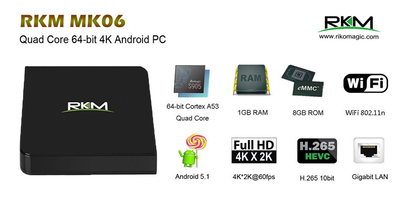 Quad Core Amlogic S905 Android 5.1 mini smart TV BOX 1G RAM 8G ROM with Gigabit LAN Bluetooth, Kodi