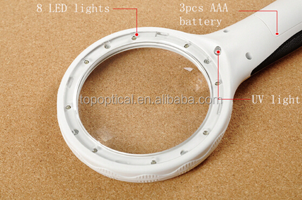 Hot selling in Germany hand held plastic with UV led light gift magnifying glass lens