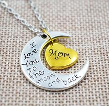 Hot Sale handmade moon Necklaces I Love You To The Moon And Back Moon Heart Shape Love Sister Mom Necklaces Wholesale