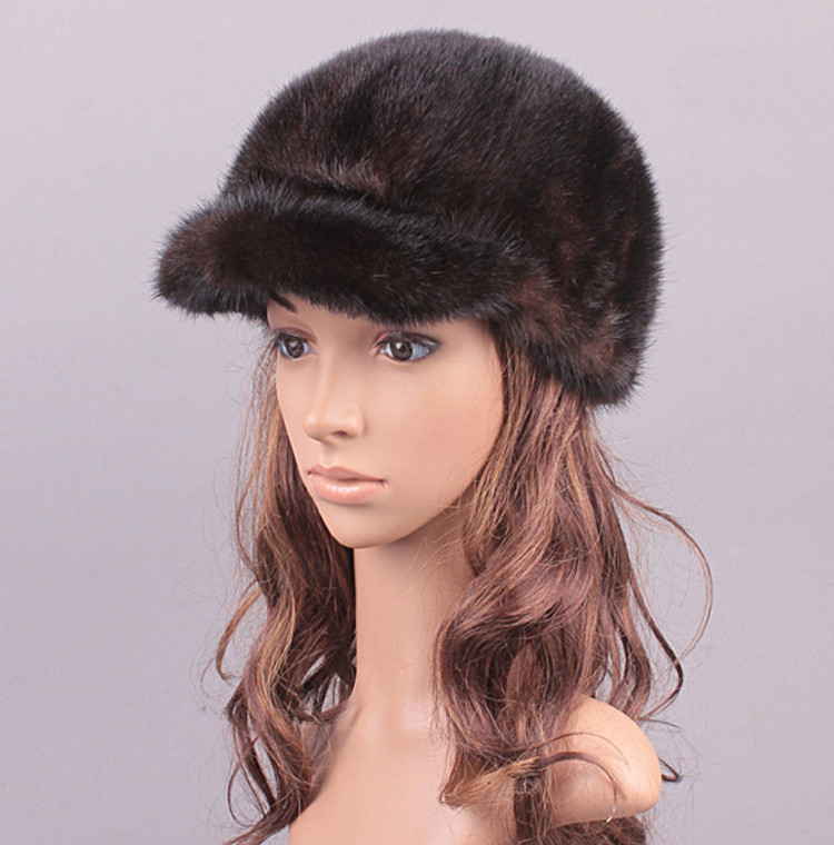 New Fashion Women Real Cross Mink Fur Hat