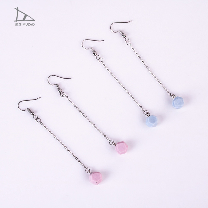 Simple Fashion 100% Handmade Ceramic Bead Long Earrings Dangle Jewelry for Women Girl