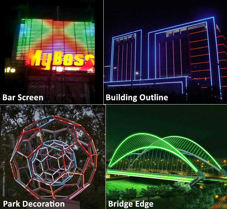 Outdoor building facade lighting decoration dmx rgb led digital tube with aluminum