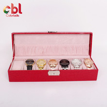 Factory price for PVC Window PU Leather Watch Box 7 Slots With Pillow