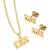 Kiss Letter Unique Bridal Dubai 18K Gold Plated Jewelry Set