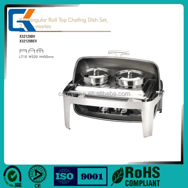 Stainless steel electric roll top rectangular chafing dish with two bain maries